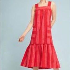 Maeve Red Tonal Stripe Pinafore Midi Linen Dress S